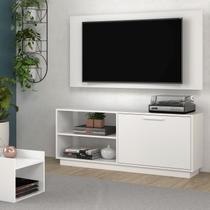 """Conjunto Sala de Estar Painel p/ TV até 48"""" Rack e Mesa de Centro Compacto Branco Brv Móveis -"""