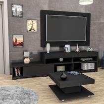 Conjunto Sala de Estar Painel P/ Tv Até 50 Polegadas Rack e Mesa de Centro Black Mali Haus -