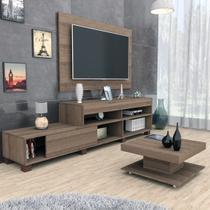 Conjunto Sala de Estar Painel P/ Tv Até 50 Polegadas Rack e Mesa de Centro Nogueira Mali Haus -