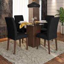 Conjunto Sala De Jantar 4 Cadeiras C/ Vidro Chile - Moveis Arapongas