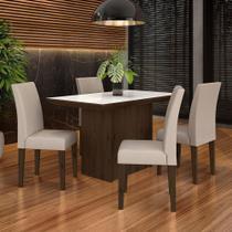 Conjunto Sala De Jantar 4 Cadeiras Imbuia Meli - Moveis Arapongas