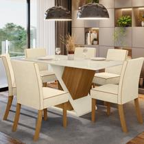Conjunto Sala de Jantar 6 Cadeiras Daiany Henn Nature/Off White -