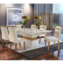 Conjunto Sala de Jantar 6 Cadeiras Dream Espresso Moveis Veludo Creme/Off White/Imbuia - Espresso Móveis