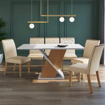 Conjunto Sala de Jantar 6 Cadeiras Helena Espresso Móveis Nature/Off White/Linho -