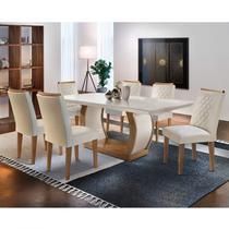 Conjunto Sala de Jantar 6 Cadeiras Kate Espresso Moveis Imbuia/Veludo Creme - Espresso Móveis