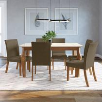 Conjunto Sala de Jantar 6 Cadeiras Lorena Espresso Móveis Nature/Off White/Linho -