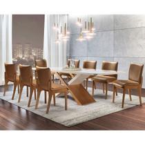 Conjunto Sala de Jantar Alice Madeira e Vidro 8 Cadeiras Bella Gold Mobillare -