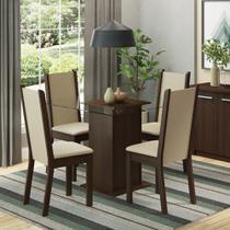 Conjunto Sala de Jantar Aline Madesa Mesa Tampo de Vidro com 4 Cadeiras -