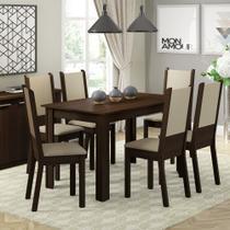 Conjunto Sala de Jantar Amanda Madesa  Mesa Tampo de Madeira com 6 Cadeiras -