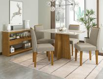 Conjunto Sala de Jantar Ana Com Tampo de Vidro, Cadeiras Estofadas e Aparador com Gaveta New Ceval -
