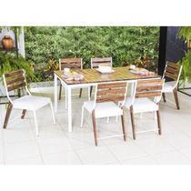 Conjunto Sala de Jantar Bromélia Mesa em Madeira estilo Demolição 160 cm Branca e 06 cadeiras Modelo 823 - Modecor