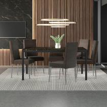 Conjunto Sala de Jantar Carraro Manaus mesa e 6 cadeiras - Móveis Carraro
