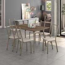 Conjunto Sala de Jantar Carraro Marsala mesa e 6 cadeiras - Móveis Carraro
