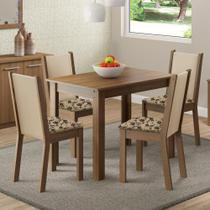 Conjunto Sala de Jantar Cíntia Madesa Mesa Tampo de Madeira com 4 Cadeiras -