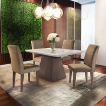 Conjunto Sala de Jantar com 4 Cadeiras Ágata Siena Móveis Chocolate/Off White/Café -