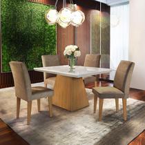 Conjunto Sala de Jantar com 4 Cadeiras Isabela Espresso Móveis Chocolate/Off White/Imbuia -