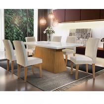 Conjunto Sala de Jantar com 6 Cadeiras Mariana Espresso Móveis Creme/Off White/Imbuia -
