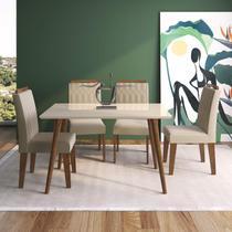 Conjunto Sala de Jantar com Mesa 130cm e 4 Cadeiras Paola Cimol Madeira/Off White/Savana/Nude -