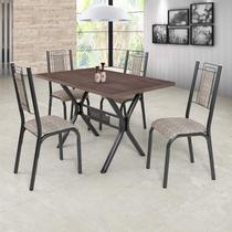 Conjunto Sala de Jantar com Mesa 4 Cadeiras Bela Ciplafe Craqueado Preto/Junco Manteiga -