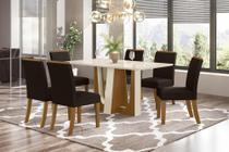 Conjunto Sala de Jantar com Mesa Alfa 1600 e 6 Cadeiras Vega Marrom - FdECOR - Henn