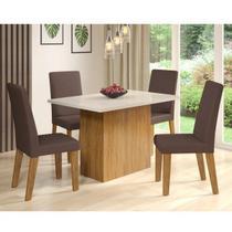 Conjunto Sala de Jantar com Mesa e 4 Cadeiras Vintage Viero Pinho/Off White/Bombom -