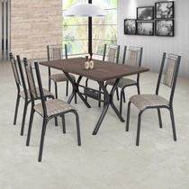 Conjunto Sala de Jantar com Mesa e 6 Cadeiras Bela Ciplafe Craqueado Preto/Junco Manteiga -