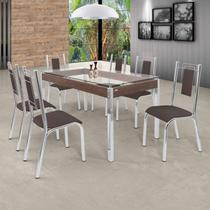 Conjunto Sala de Jantar com Mesa Tampo de Vidro e 6 Cadeiras Bela Premium Ciplafe Cromado/Marrom -