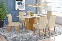 Conjunto Sala de Jantar com Mesa Vertice 1600 e 6 Cadeiras Vita Linho - FdECOR - Henn