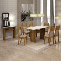 Conjunto Sala de Jantar Completa com Mesa Tampo Vidro, 6 Cadeiras e Aparador Florença Leifer Canela/Animale Capuccino/Off White -