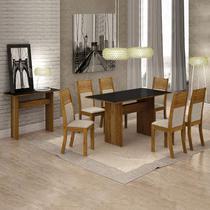 Conjunto Sala de Jantar Completa com Mesa Tampo Vidro, 6 Cadeiras e Aparador Florença Leifer Canela/Linho Bege/Preto -