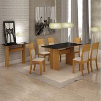 Conjunto Sala de Jantar Completa com Mesa Tampo Vidro, 6 Cadeiras e Aparador Florença Leifer Imbuia Mel/Linho Bege/Preto -