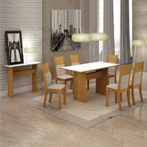 Conjunto Sala de Jantar Completa com Mesa Tampo Vidro, 6 Cadeiras e Aparador Florença Leifer Imbuia Mel/Linho Bege -