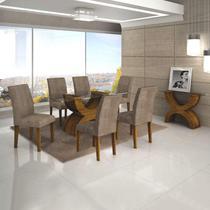 Conjunto Sala de Jantar Completa com Mesa Tampo Vidro, 6 Cadeiras e Aparador Olímpia Leifer Canela -