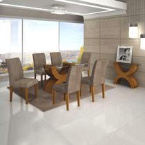 Conjunto Sala de Jantar Completa com Mesa Tampo Vidro, 6 Cadeiras e Aparador Olímpia Leifer Imbuia Mel/Animale Capuccino -
