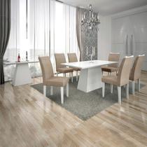 Conjunto Sala de Jantar Completa com Mesa Tampo Vidro, 6 Cadeiras e Aparador Pampulha Leifer Branco/Linho Bege -