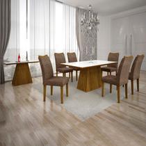 Conjunto Sala de Jantar Completa com Mesa Tampo Vidro, 6 Cadeiras e Aparador Pampulha Leifer Canela/Branco/Linho Marrom -