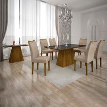 Conjunto Sala de Jantar Completa com Mesa Tampo Vidro, 6 Cadeiras e Aparador Pampulha Leifer Canela/Preto/Linho Bege -