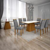 Conjunto Sala de Jantar Completa com Mesa Tampo Vidro, 6 Cadeiras e Aparador Pampulha Leifer Imbuia/Branco/Linho Cinza -