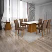 Conjunto Sala de Jantar Completa com Mesa Tampo Vidro, 6 Cadeiras e Aparador Pampulha Leifer Imbuia/Branco/Linho Marrom -