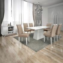 Conjunto Sala de Jantar Completa com Mesa Tampo Vidro, 6 Cadeiras e Buffet com Adega Supreme Leifer Branco/Linho Bege -