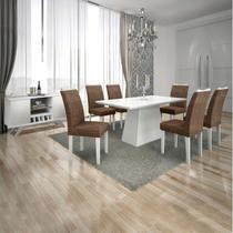 Conjunto Sala de Jantar Completa com Mesa Tampo Vidro, 6 Cadeiras e Buffet com Adega Supreme Leifer Branco/Linho Marrom -