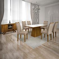Conjunto Sala de Jantar Completa com Mesa Tampo Vidro, 6 Cadeiras e Buffet com Adega Supreme Leifer Canela/Branco/Linho Bege -