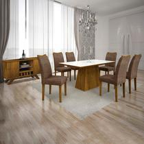 Conjunto Sala de Jantar Completa com Mesa Tampo Vidro, 6 Cadeiras e Buffet com Adega Supreme Leifer Canela/Branco/Linho Marrom -