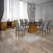 Conjunto Sala de Jantar Completa com Mesa Tampo Vidro, 6 Cadeiras e Buffet com Adega Supreme Leifer Imbuia/Preto/Linho Cinza -
