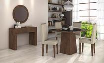 Conjunto Sala de Jantar Completa Nevada 100 4 Cadeiras Dafine Aparador e Quadro Anápolis Imbuia Soft Lopas -