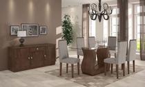Conjunto Sala de Jantar Dafne Mesa Tampo de Vidro 6 Cadeiras Imbuia Soft Lopas -