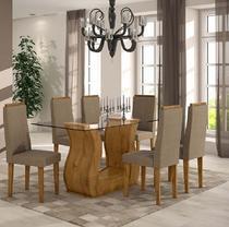 Conjunto Sala de Jantar Dafne Mesa Tampo de Vidro 6 Cadeiras Rovere Soft Lopas -