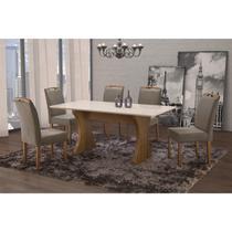 Conjunto Sala de Jantar em Madeira Maciça Mesa Milão Curva e 6 Cadeiras Priscila Espresso Móveis Castanho/Suede 15 -