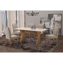 Conjunto Sala de Jantar em Madeira Maciça Mesa Milão Curva e 6 Cadeiras Priscila Espresso Móveis Imbuia Natural/Suede 67 -