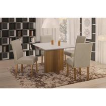 Conjunto Sala de Jantar em Madeira Maciça Mesa Pérola 4 Cadeiras Lara Siena Móveis Imbuia Natural/Suede 35 -